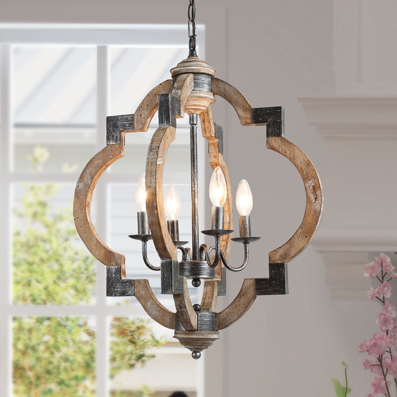 Midwest 4 - Light Lantern Geometric Farmhouse Chandelier with Wood Accents