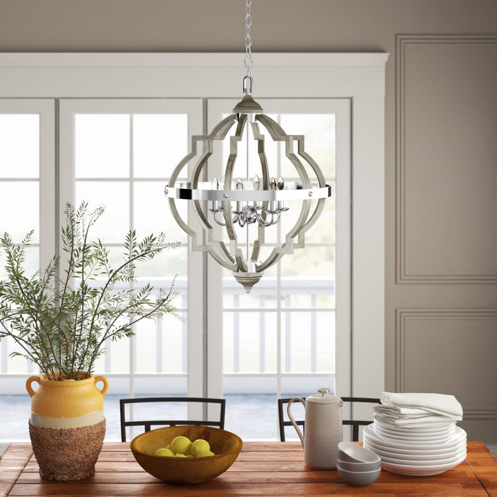 Rithland 6 - Light Candle Style Geometric Farmhouse Chandelier