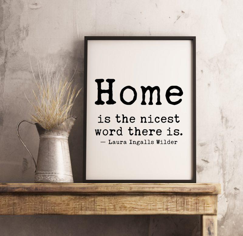 Home is The Nicest Word There Is - Laura Ingalls Wilder Quote   Typography Print   Home Wall Decor   Housewarming Gift   Minimalist Print