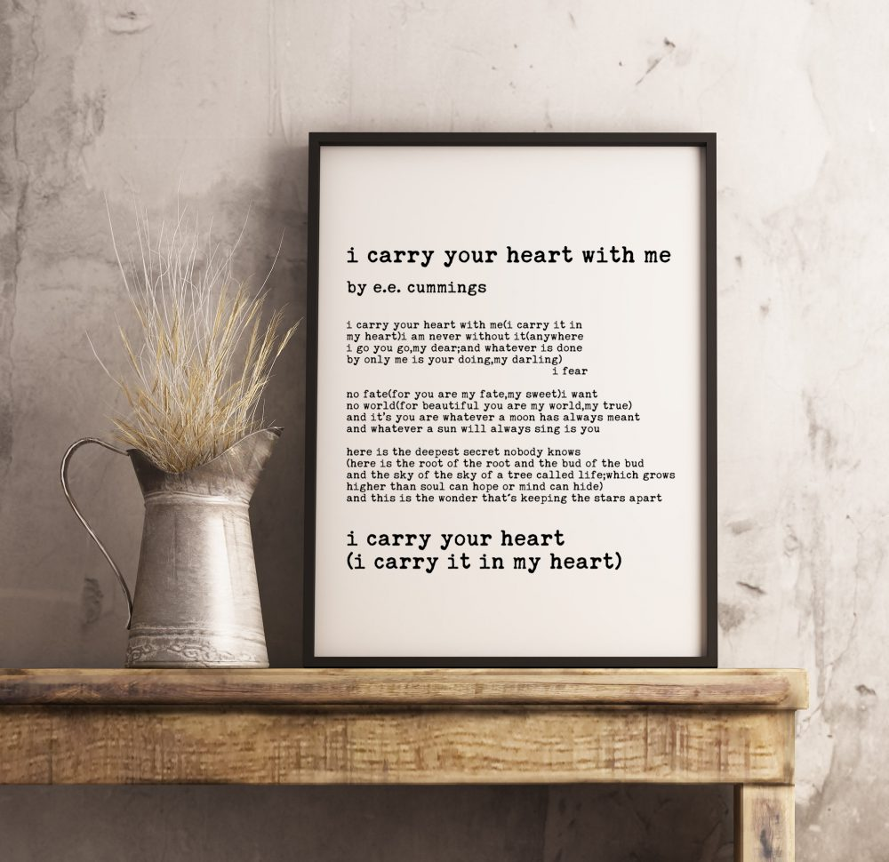 I Carry Your Heart(I Carry It In My Heart) - E.E. Cummings Poem, Typography Print, Home Wall Decor, Wedding Poem, Minimalist Decor