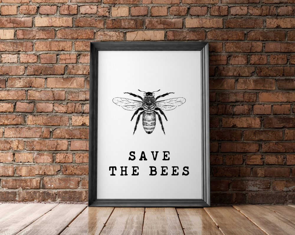Save the Bees Wall Print | Kitchen Wall Decor | Bee Wall Art | Home Wall Decor | Minimalist Typography | Nature Wall Art | Bee Conservation