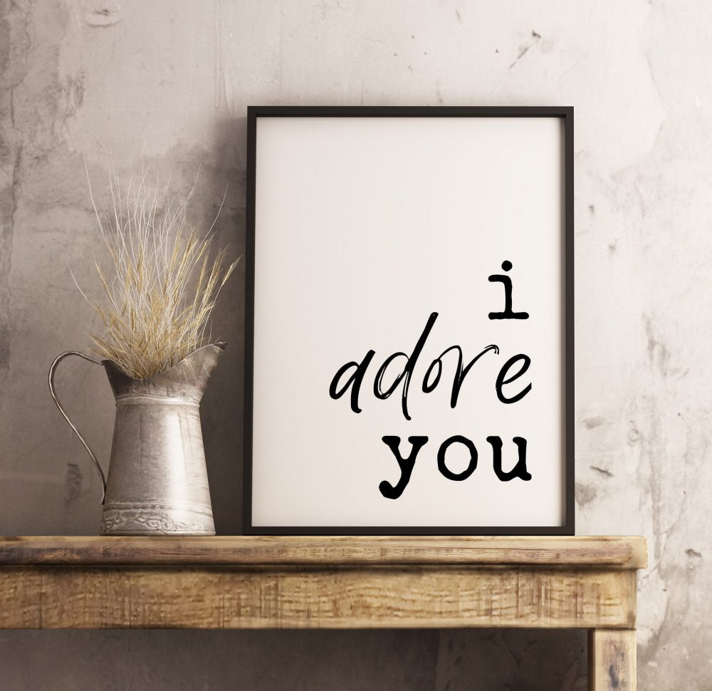 I Adore You Typography Print | Home Wall Decor | Wedding Print| Minimalist Decor | Wedding Gift | Wedding Sign | Bedroom Wall Art