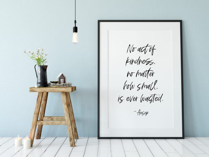 No act of kindness, no matter how small, is ever wasted. - Aesop | Nursery Art | Typography Print | Home Wall Decor | Minimalist Decor