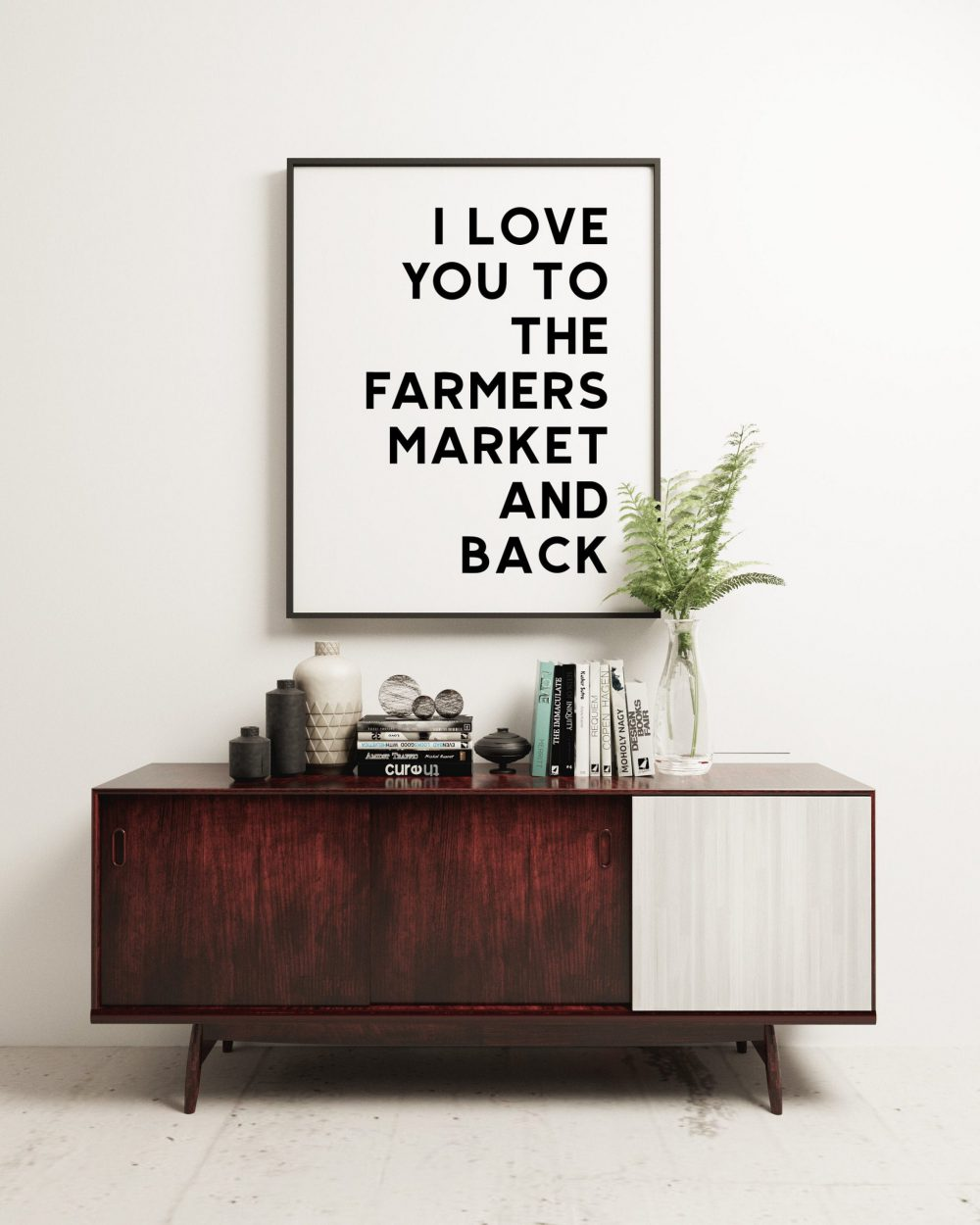 I Love You To The Farmers Market and Back | Typography Art | Love Wall Art | Wedding Art | Best Friend Gift | Minimalist Art