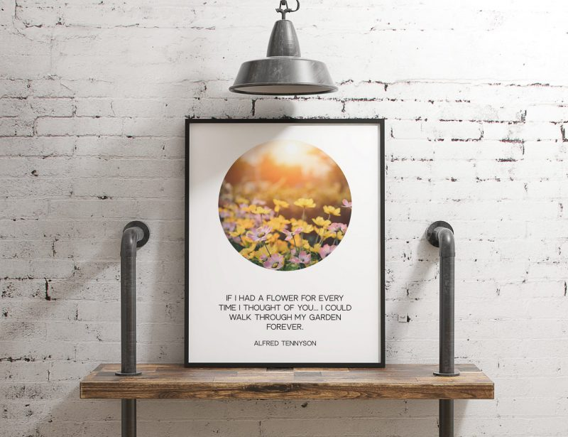 If I had a flower for every time I thought of you... I could walk through my garden forever. - Alfred Tennyson Typography, Poems, Quotes