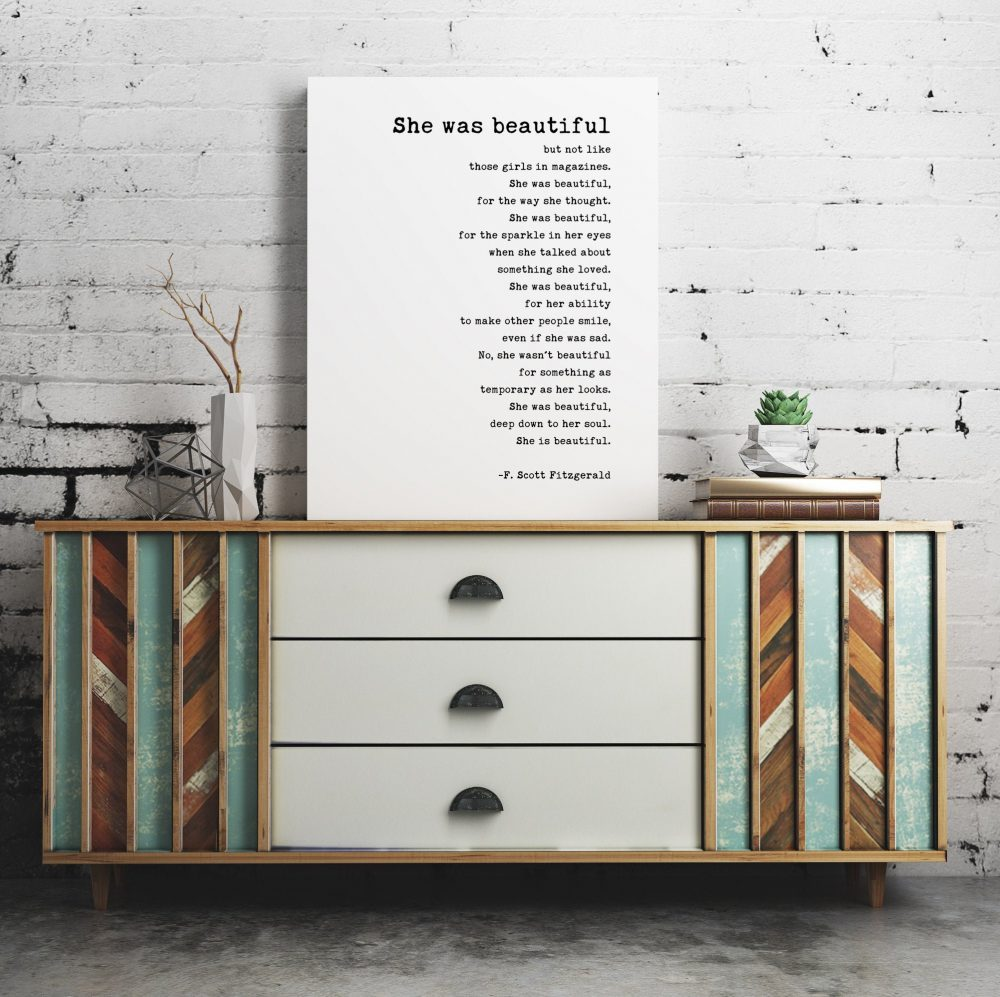 She was beautiful But Not Like Those Girls in Magazines (b) by F. Scott Fitzgerald Canvas Typography Art Print // Typography Print Décor