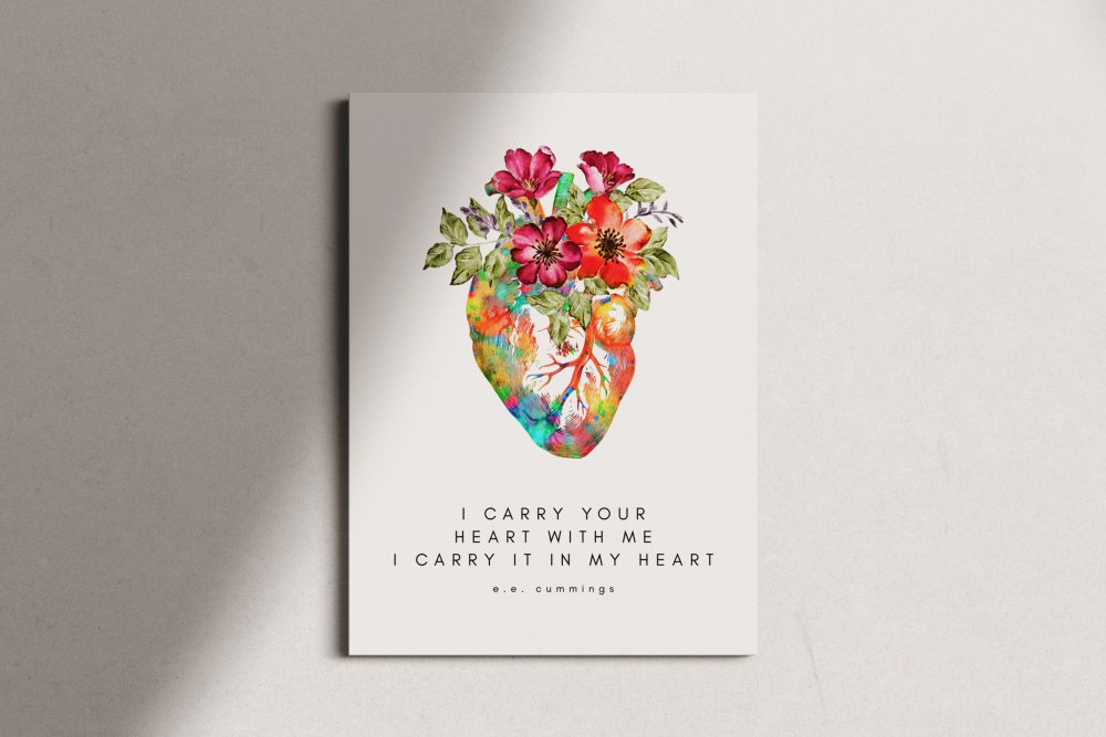 I Carry Your Heart I Carry It In My Heart - E.E. Cummings Poem with Heart Flowers - Canvas Print - Wedding Gift - Love Poem - Gift