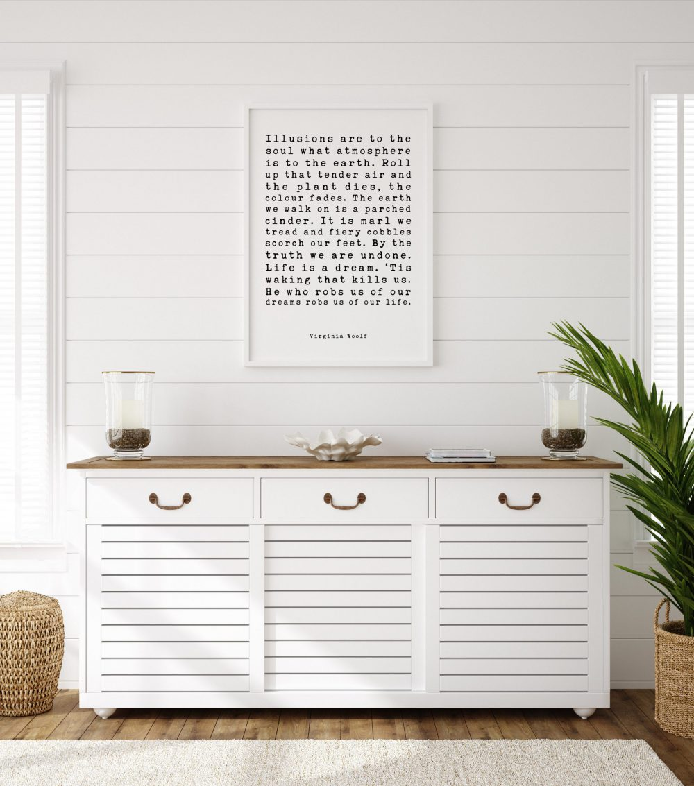 Illusions are to the soul what atmosphere is to the earth. - Virginia Woolf Art Print, Philosophical Quotes, Virginia Woolf Life is a dream