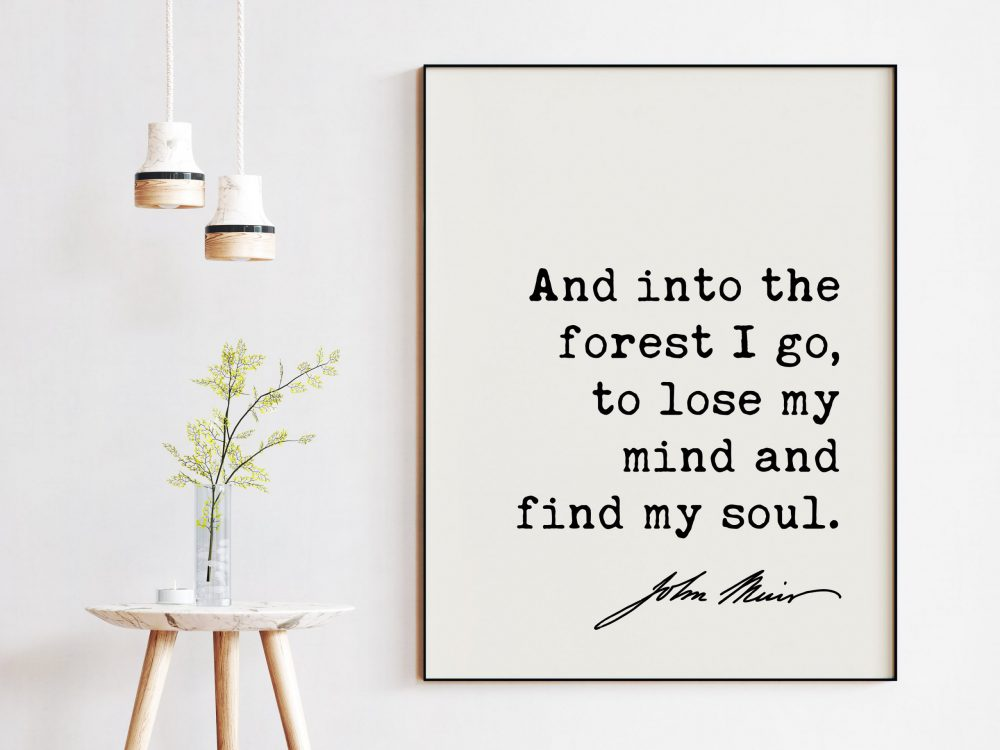 And into the forest I go, to lose my mind and find my soul. John Muir Quote Art Print - Nature Lover - Environmentalist - John Muir Quote