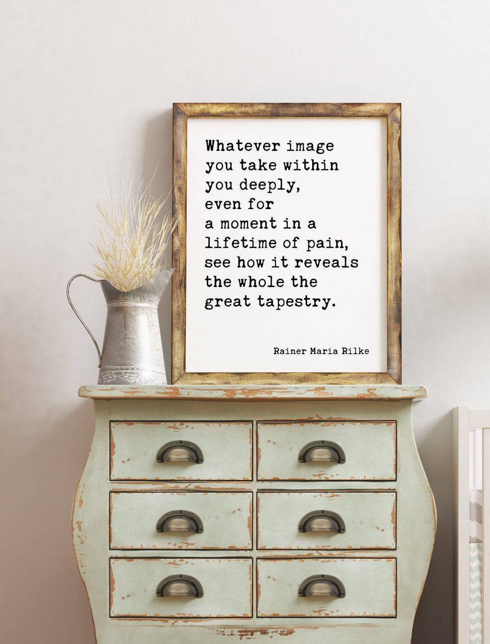 Whatever image you take within you deeply, see how it reveals the whole — the great tapestry. Rainer Maria Rilke Inspirational Art Quote
