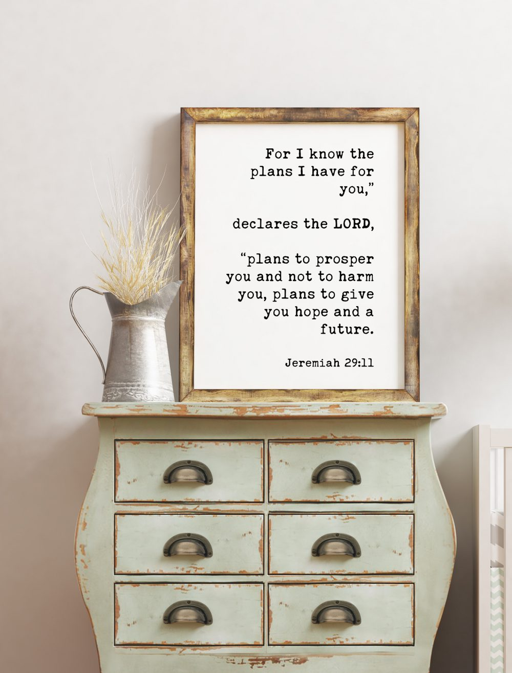 For I Know the Plans Jeremiah 29:11 Typography Print // Bible Verse Print, Scripture Print, Inspirational, Wall Decor, Minimalist Decor