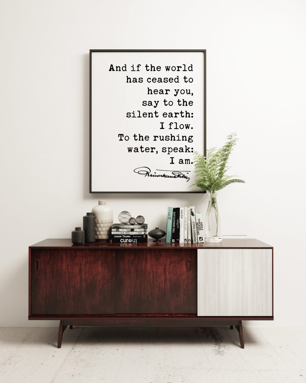 Let This Darkness Be a Bell Tower. - Rainer Maria Rilke Quote Typography Print -  Sonnets to Orpheus, And if the world has ceased hear you.