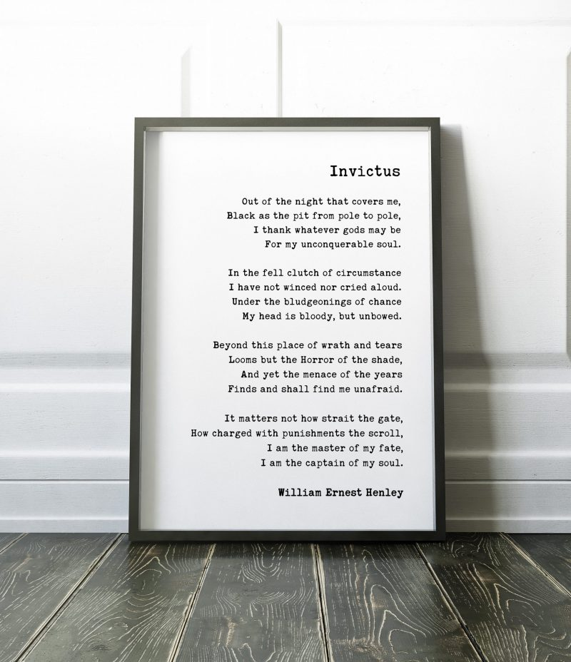 Invictus by William Ernest Henley Poem Art Print | I am the master of my fate: I am the captain of my soul. | Literary Prints