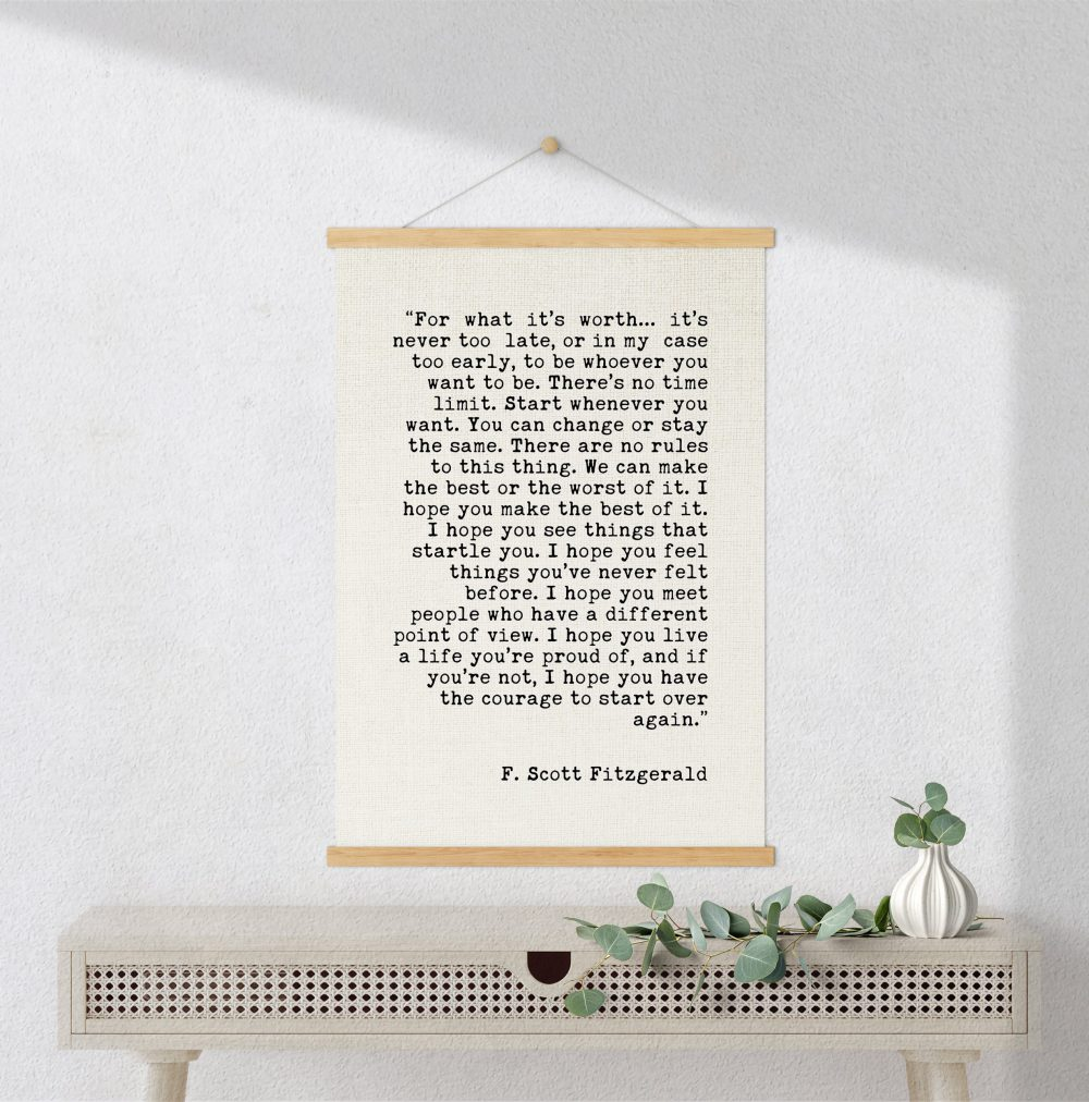 F. Scott Fitzgerald For What It's Worth Quote Canvas Art Print with Teak Wood Wall Hanger | Graduation Gift | New Job | Break-Up | Moving